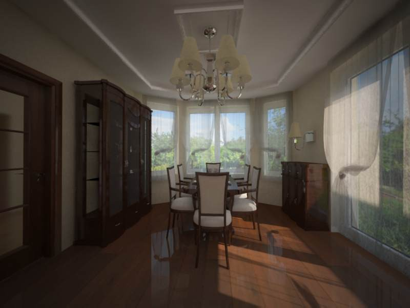 kitchen with dining room and living room in a house in 3d max vray image