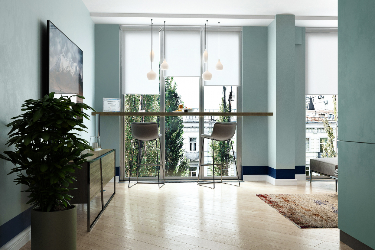 """Visualization of an apartment on Lipki, Kiev. Project """"Little Green"""" in 3d max vray 3.0 image"""