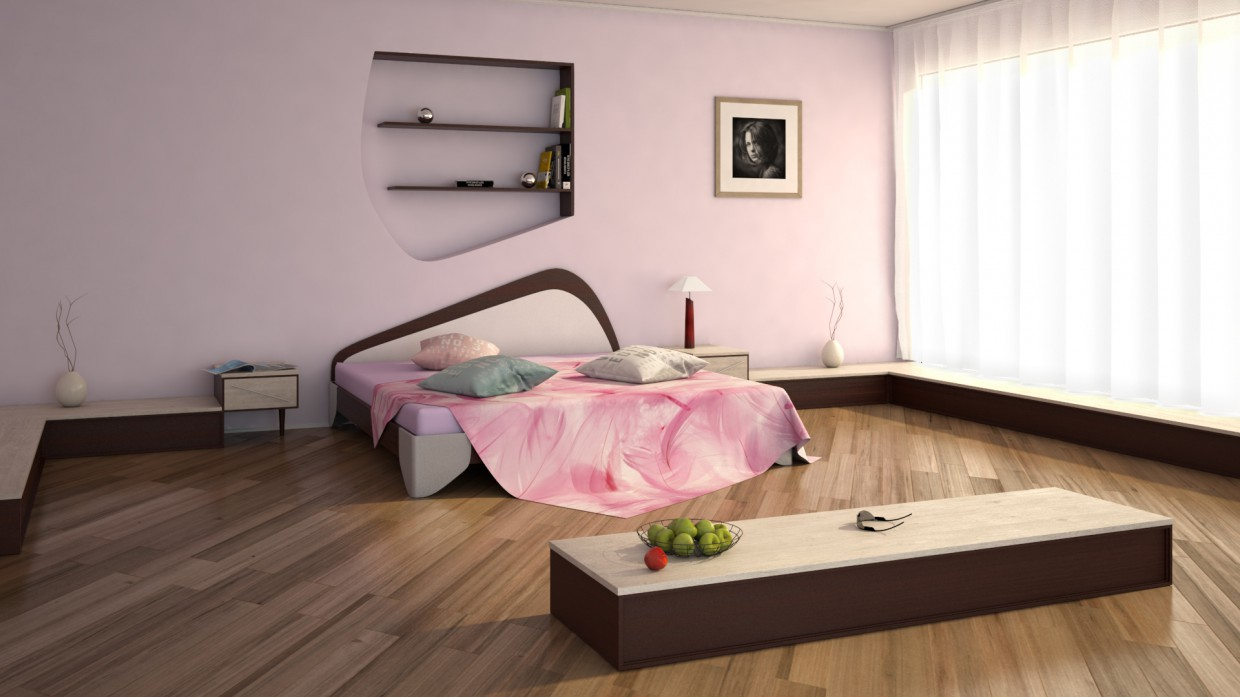 Pink bedroom in Maya vray 3.0 image