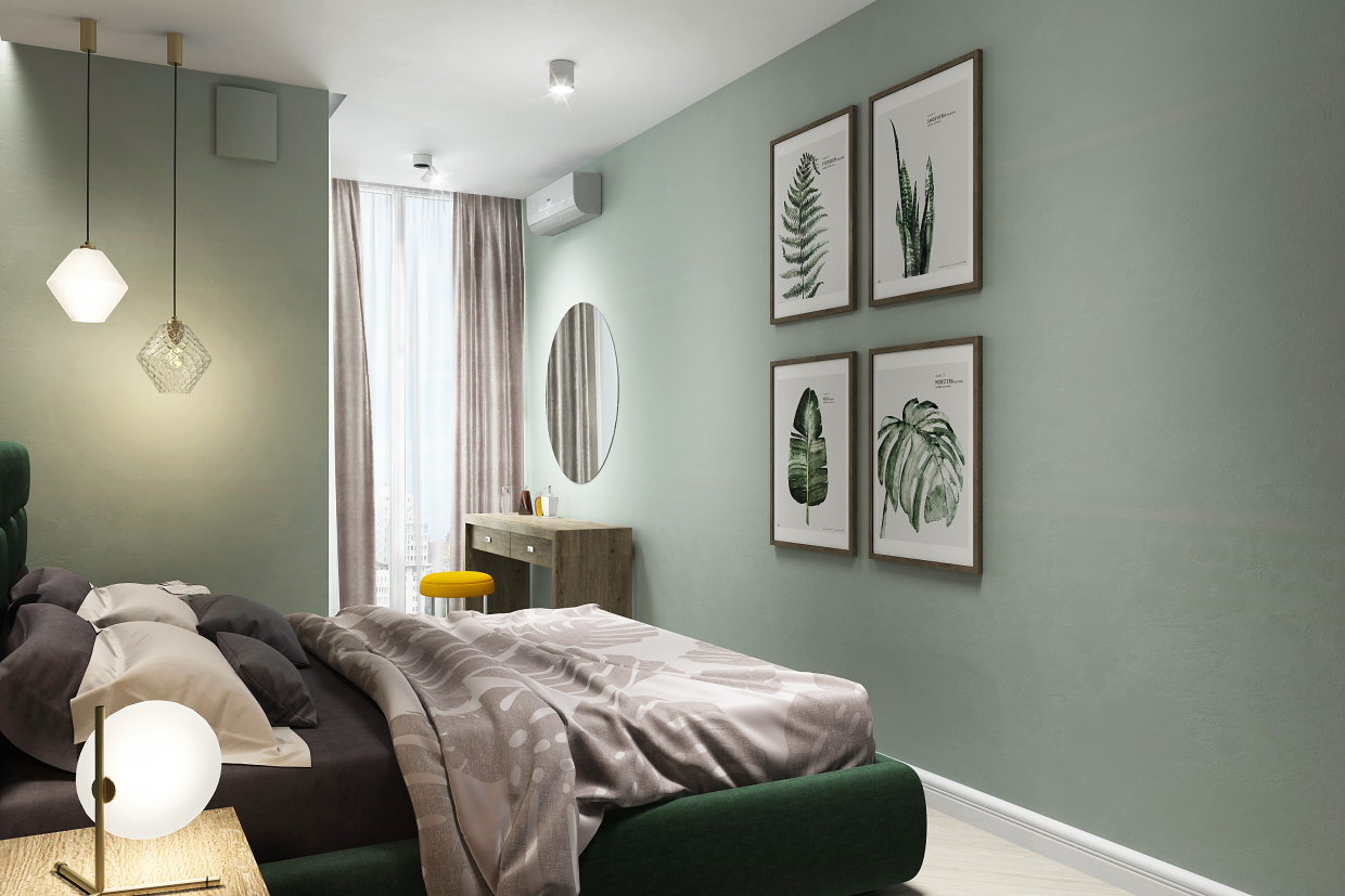Bedroom apartment on Lipki, Kiev. Little Green Project in 3d max vray 3.0 image