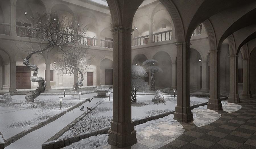 Старый монастырь... Времена года в Cinema 4d vray изображение