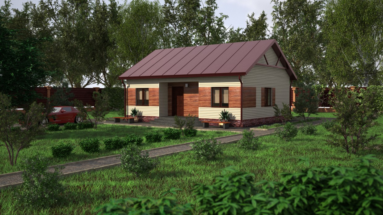 Country cottage economy class in Cinema 4d vray 2.0 image