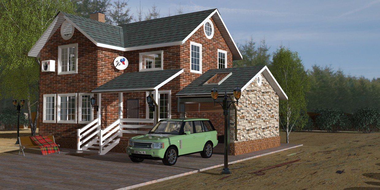 3d visualization of the project in the cottage Cinema 4d, render vray of Свой Дом