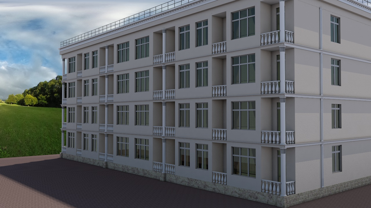 Exterior design of the hotel in Cinema 4d Other image