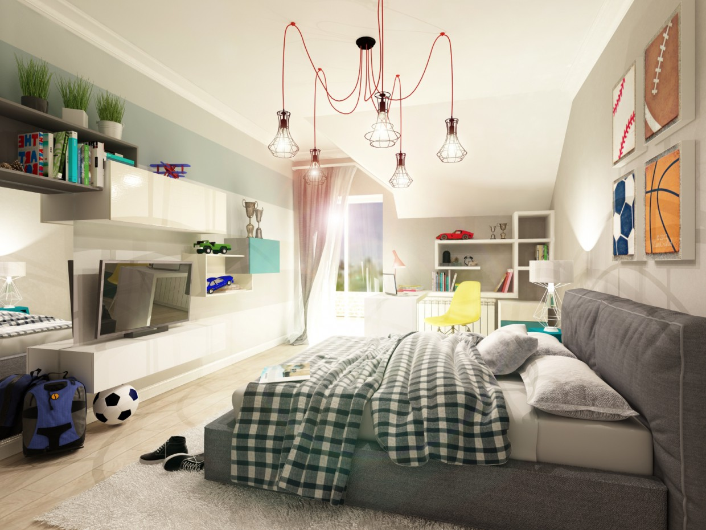 imagen de Habitación de niño adolescente en 3d max vray 2.0