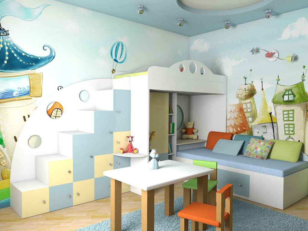 3d visualization of the project in the nursery 3d max, render vray of Simmba