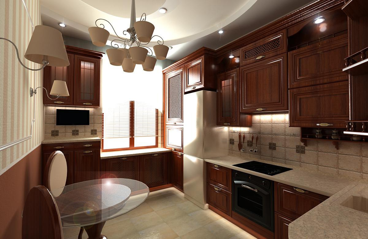 Draft of classic kitchen in 3d max vray image