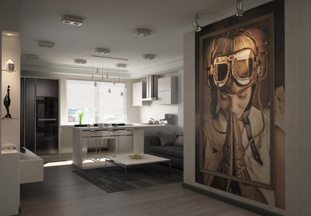 "3d visualization of the project in the Interior with ""aviatorche"" 3d max, render vray 2.0 of Boogy"