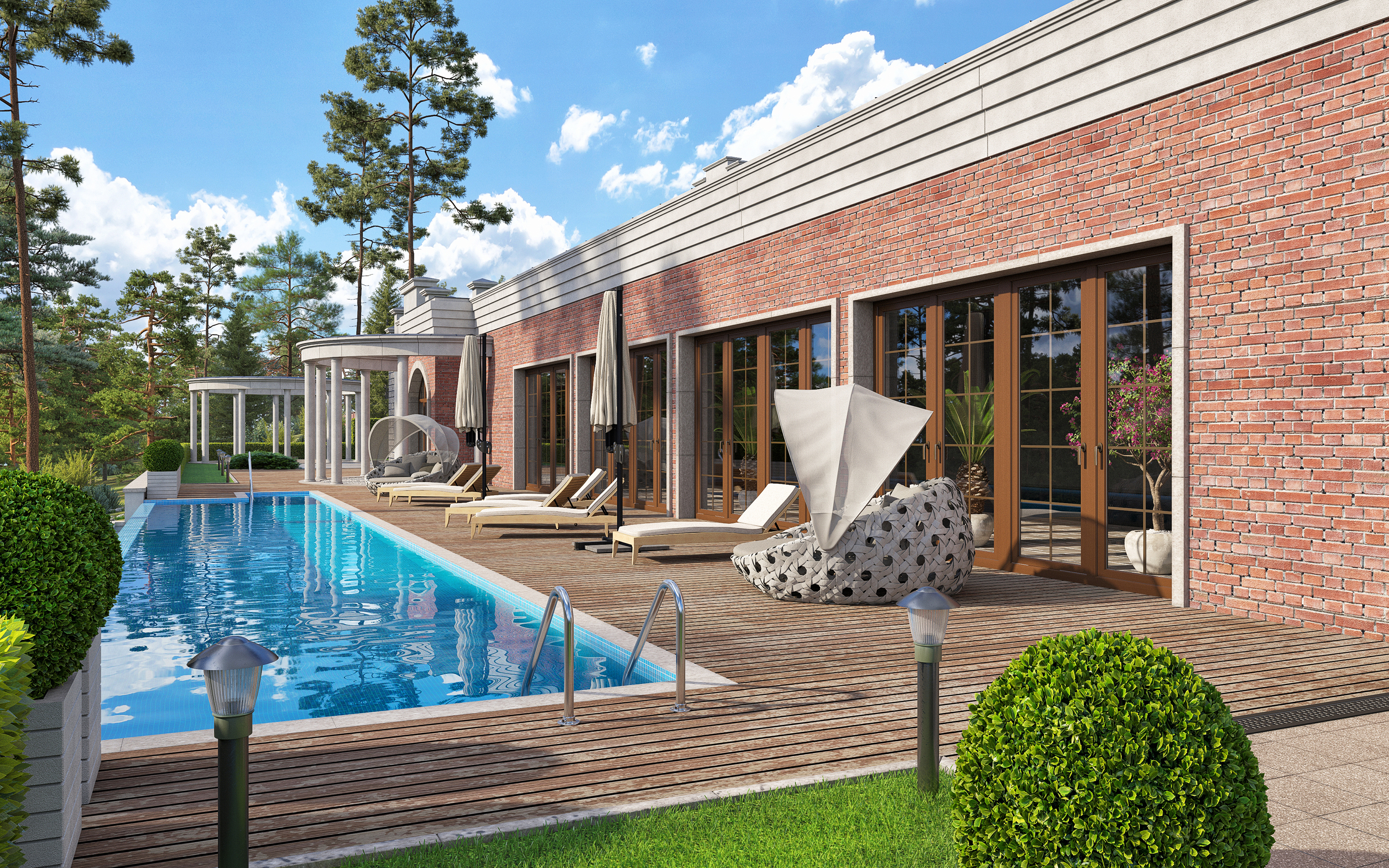 Private boutique hotel in a pine forest. in 3d max corona render image