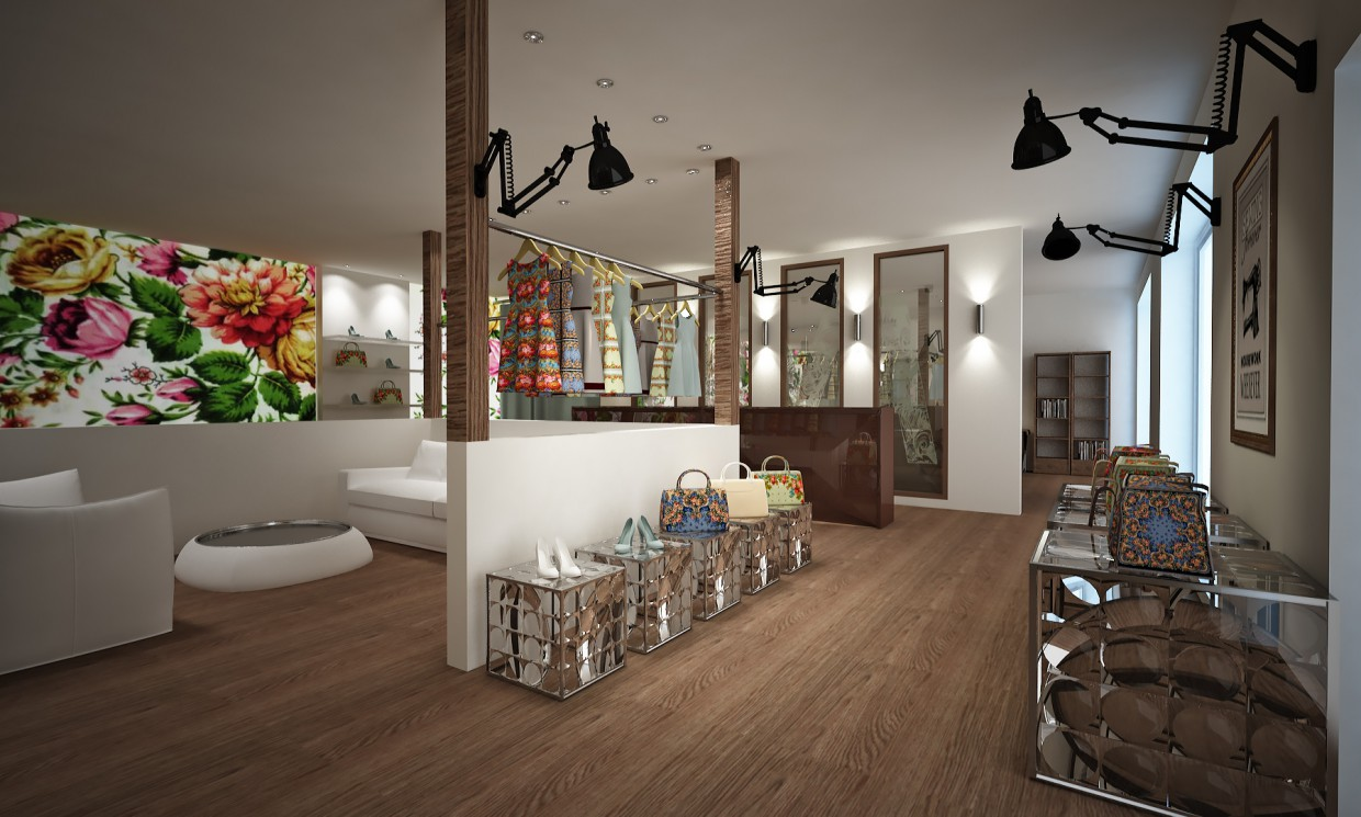 3d visualization of the project in the The concept of a studio of designer accessories 3d max, render vray of raznaya