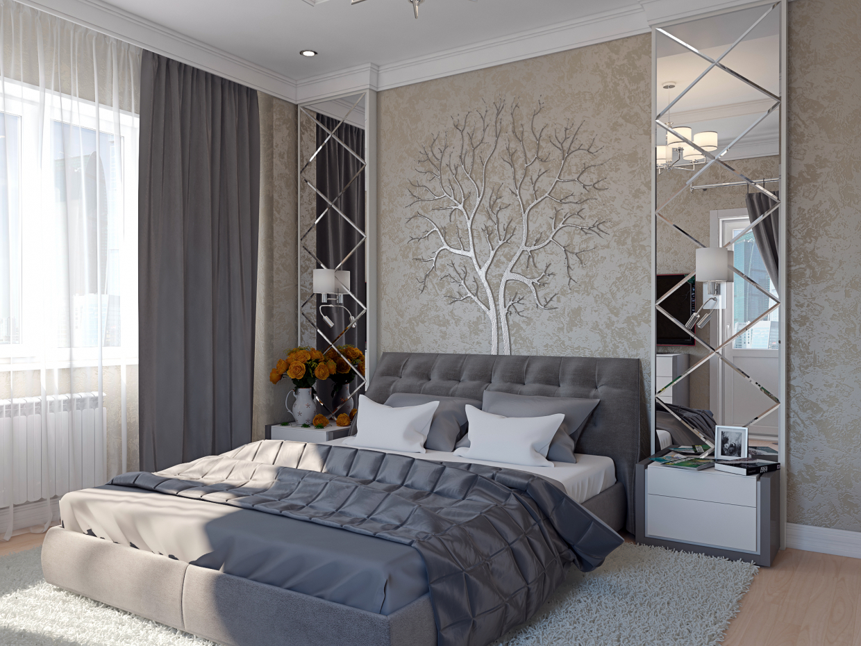 3d visualization of the project in the Bedroom 3d max, render vray 3.0 of Pavel Zazulin