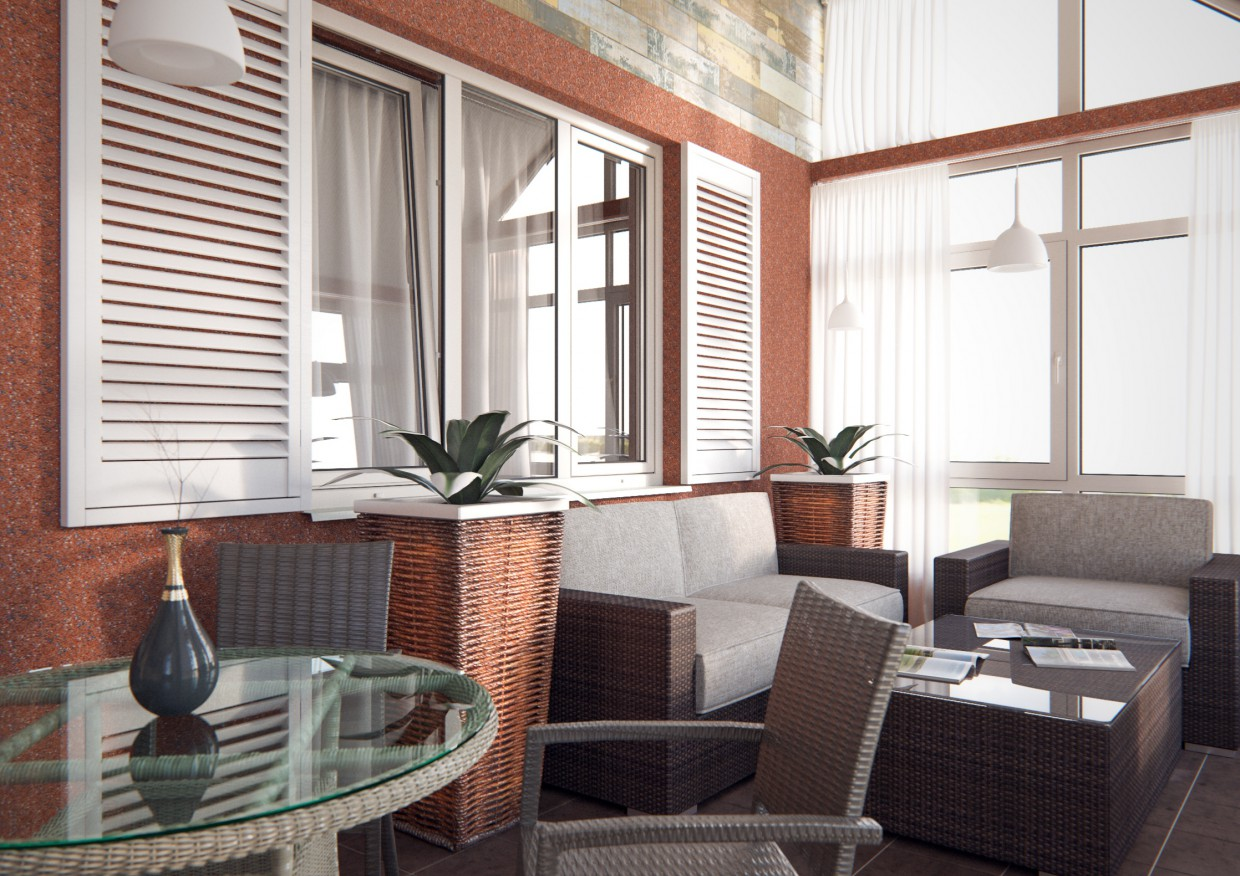 Terrace in 3d max corona render image