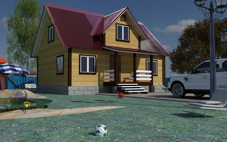 visualización 3D del proyecto en el hacer casa de campo Cinema 4d render vray Свой Дом