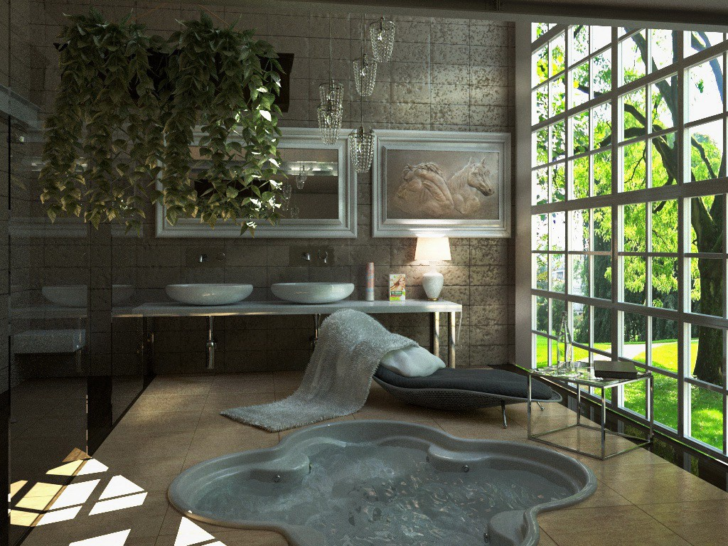 Bathroom with a bas-relief of the Scottish sculptor George Mark in Cinema 4d corona render image