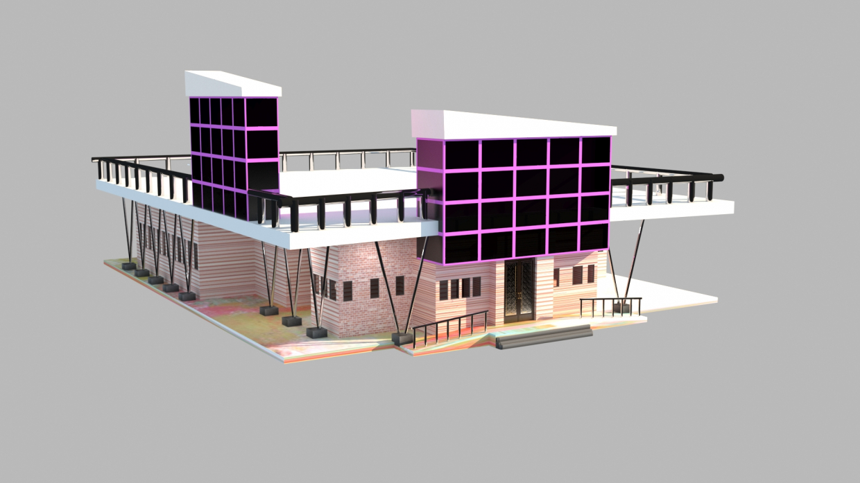 A small institution in Indian style in 3d max vray 3.0 image