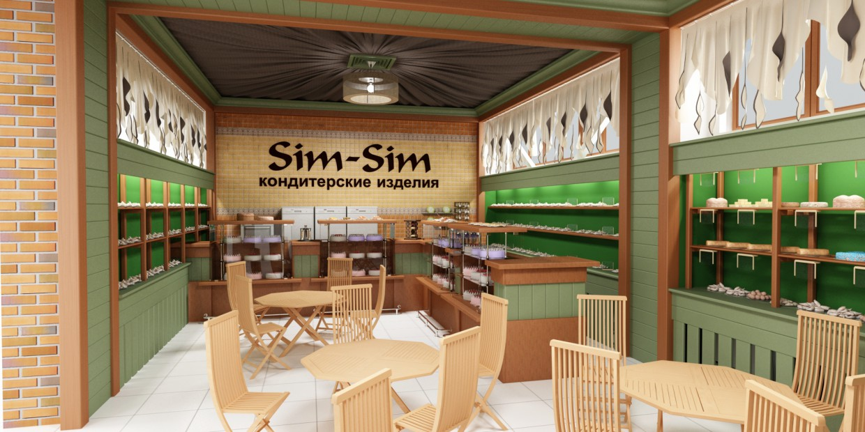 Cafe in the supermarket in 3d max vray image