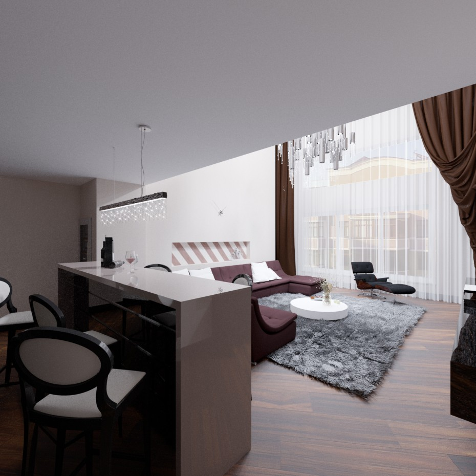 3d visualization of the project in the Hall 3d max, render corona render of Евгений Поздняков