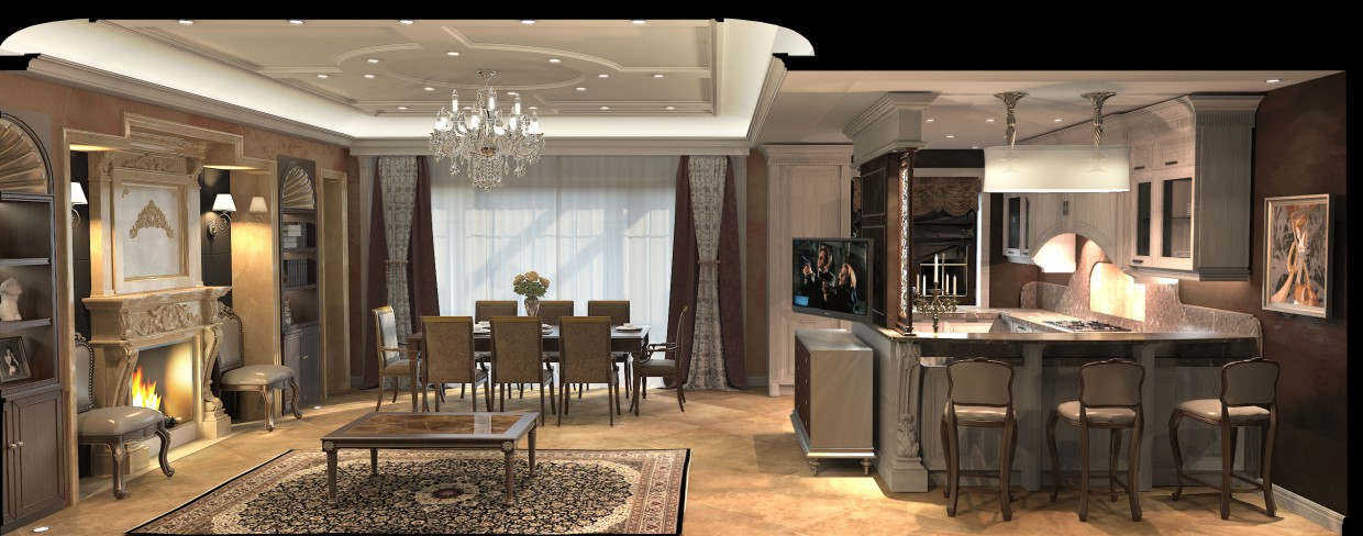 3d visualization of the project in the Studio 3d max, render vray of romanius