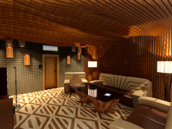 3D Interior design, Karaoke in the style of PARAMETRIC. (Video attached).