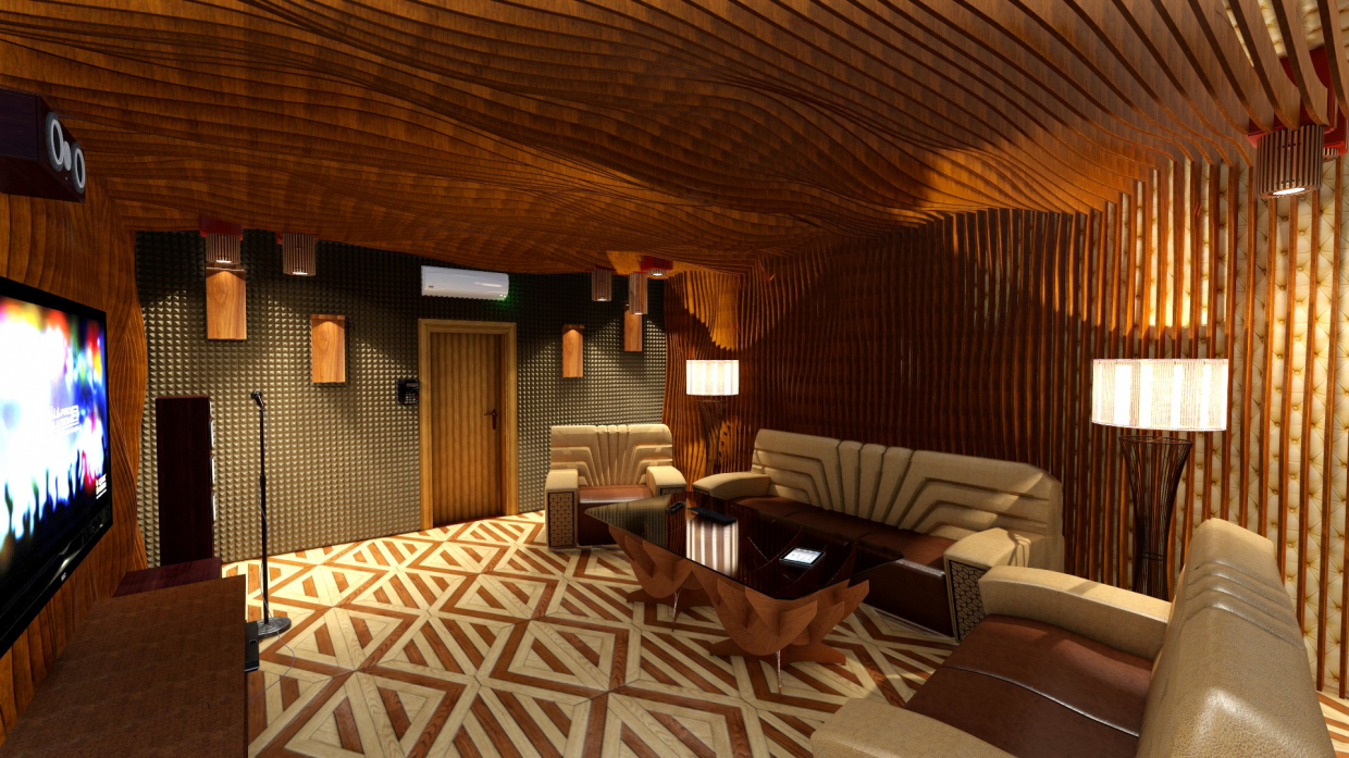 3D Interior design, Karaoke in the style of PARAMETRIC. (Video attached). in Cinema 4d Other image