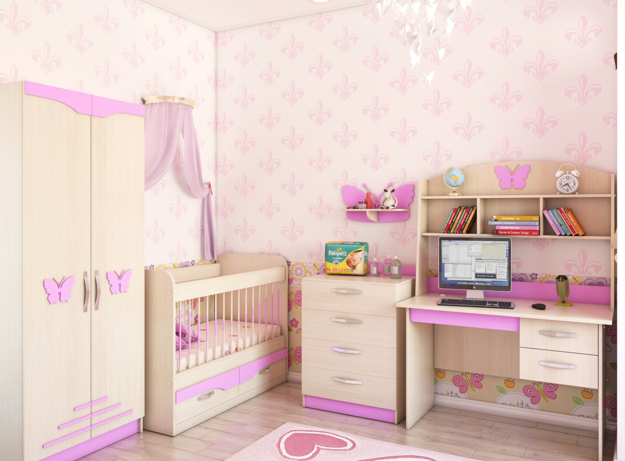 Room for girls in 3d max vray 3.0 image