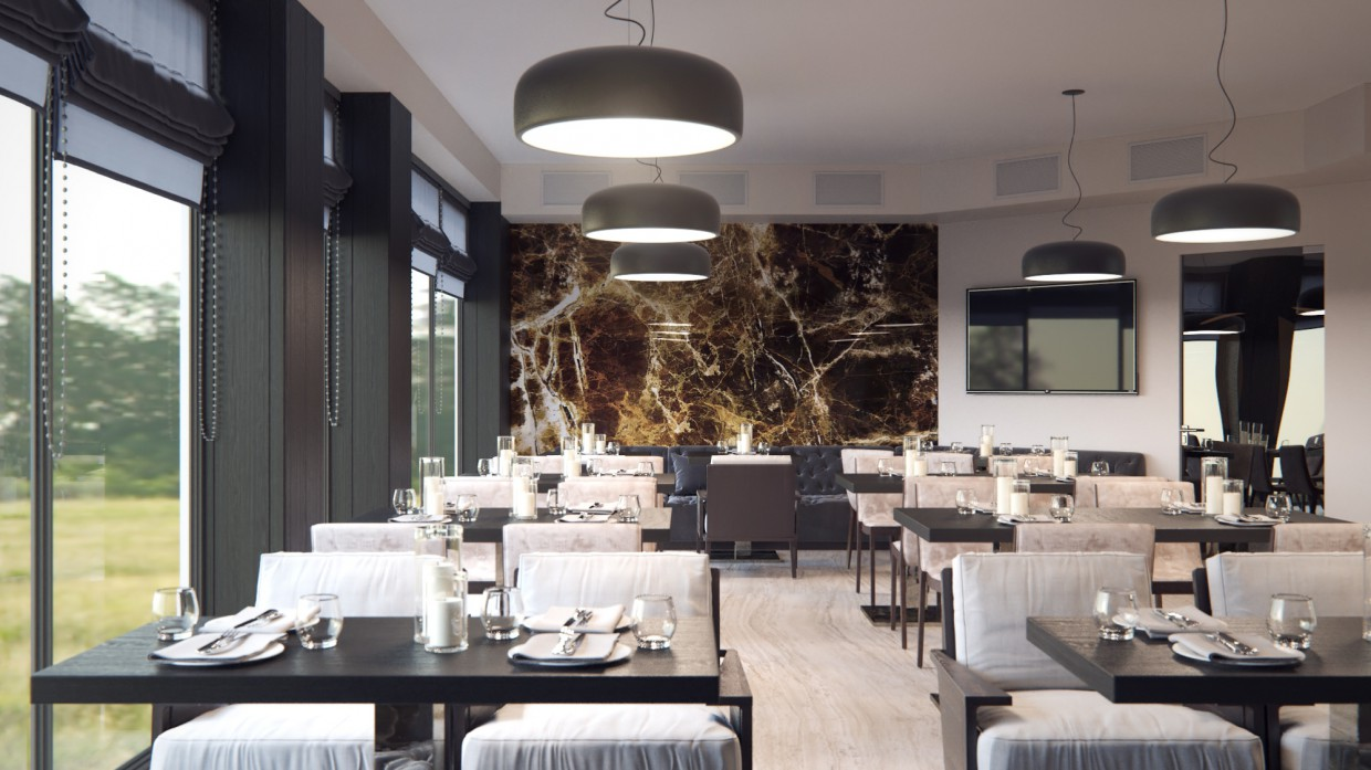 Restaurant style eclectic design and visualization for Restaurant 3d max
