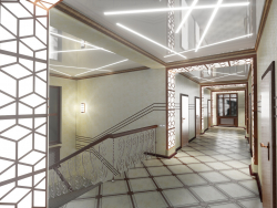 3D concept of the entrance hall and corridors of an office building. (Video attached)