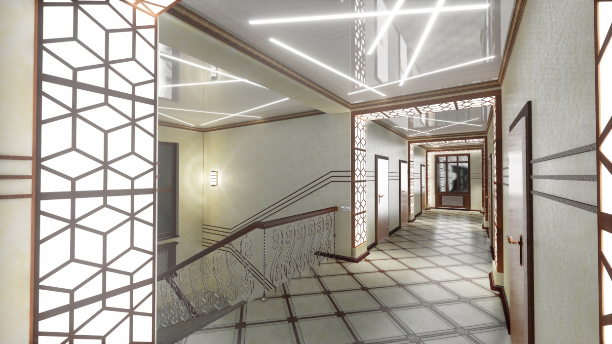 3D concept of the entrance hall and corridors of an office building. (Video attached) in Cinema 4d Other image