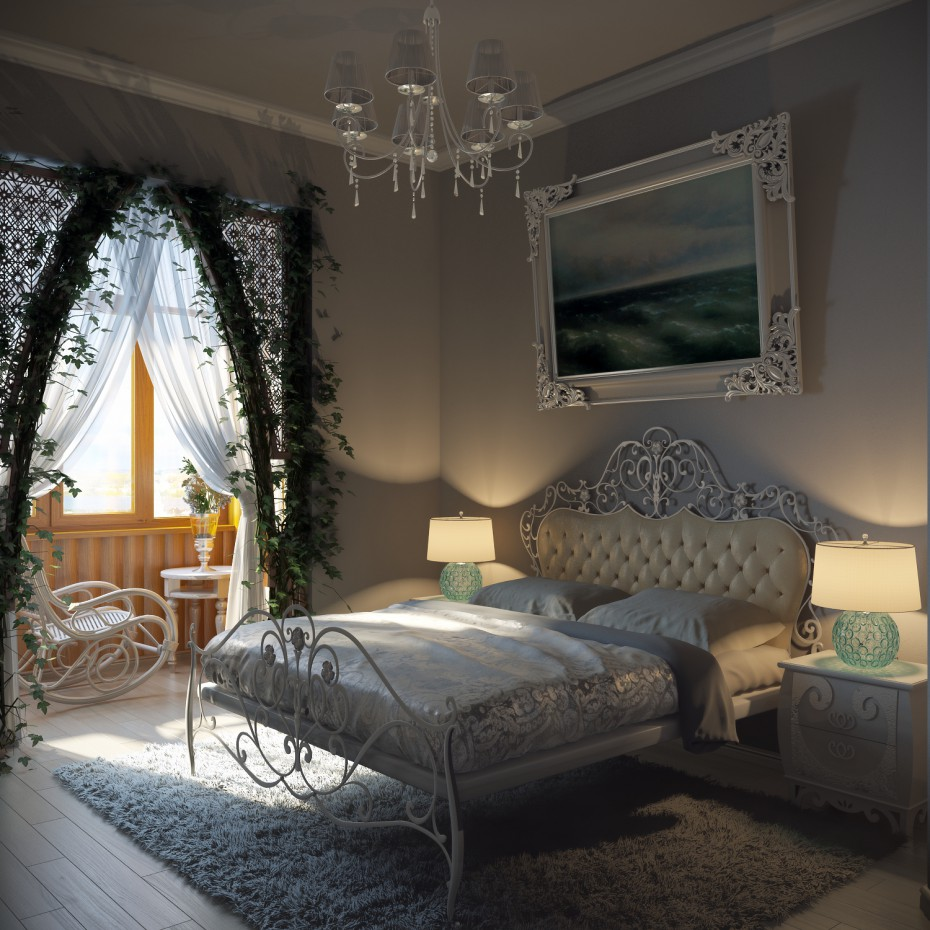 3d visualization of the project in the Bedroom 3d max, render vray of Cue8441