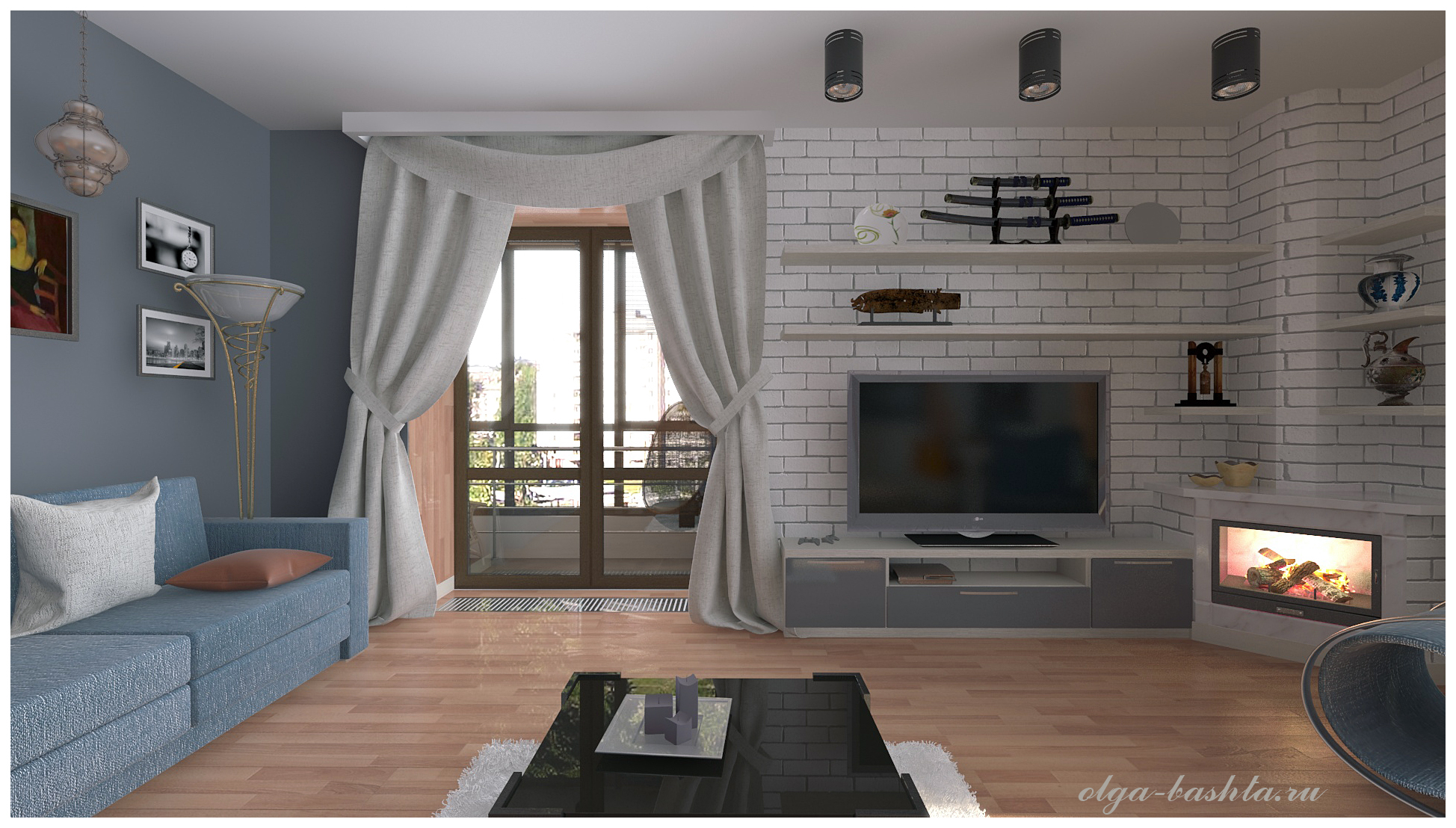 Living room with fireplace in 3d max vray 3.0 image