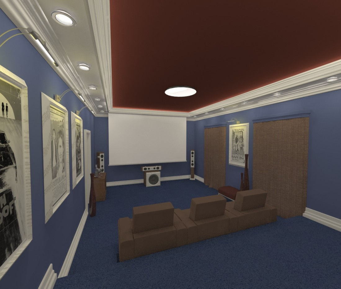 3d визуализация проекта Домашний кинозал в 3d max, рендер vray от zarazaz2008