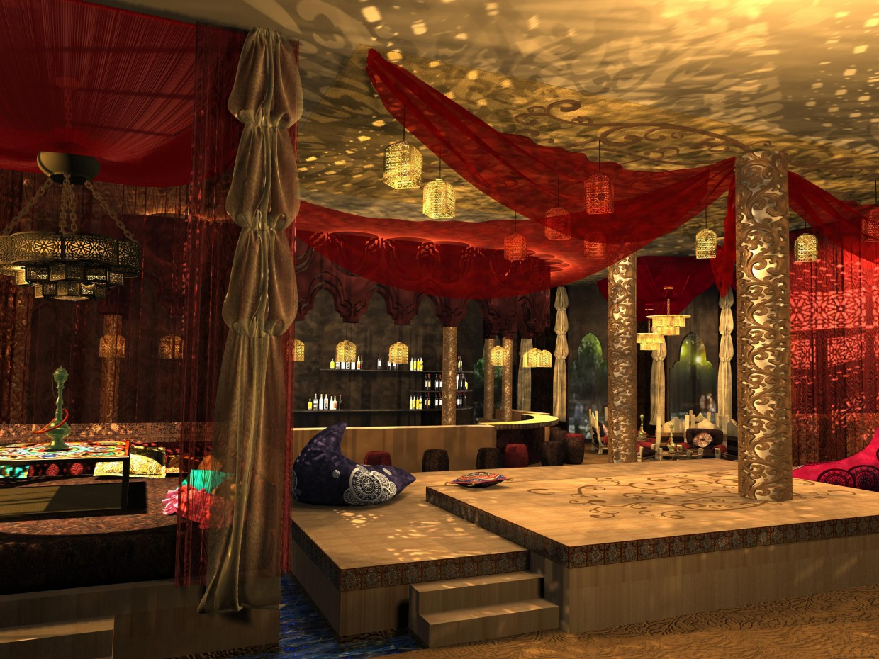 Hookah bar in 3d max vray image