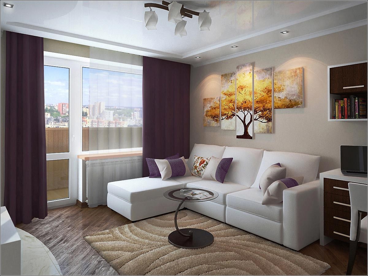 Interior design studio apartment in Chernigov in 3d max vray 2.0 image