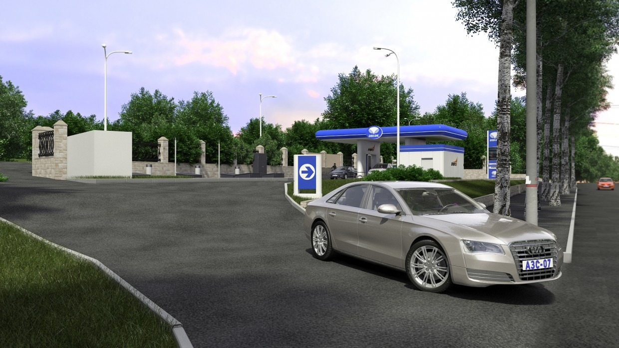 PETROL STATION-07 in 3d max vray image
