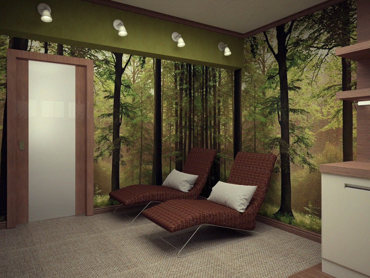 Lounge room in a sauna  in  3d max   vray  image