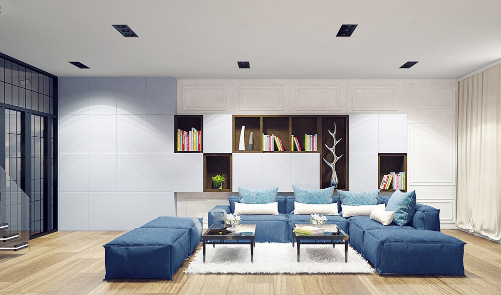 "design of penthouse interior in ""Italian quarter"" in 3d max vray image"
