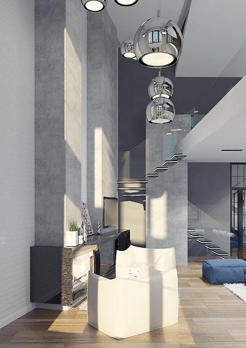 дизайн интерьера пентхауса в ЖК «Итальянский квартал» в 3d max vray изображение