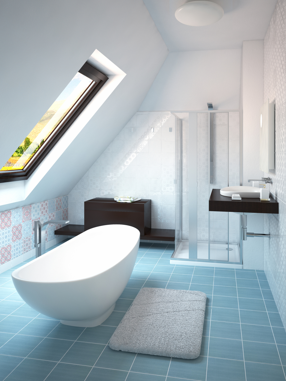 Design and visualization of two bathrooms in 3d max vray 2.0 image