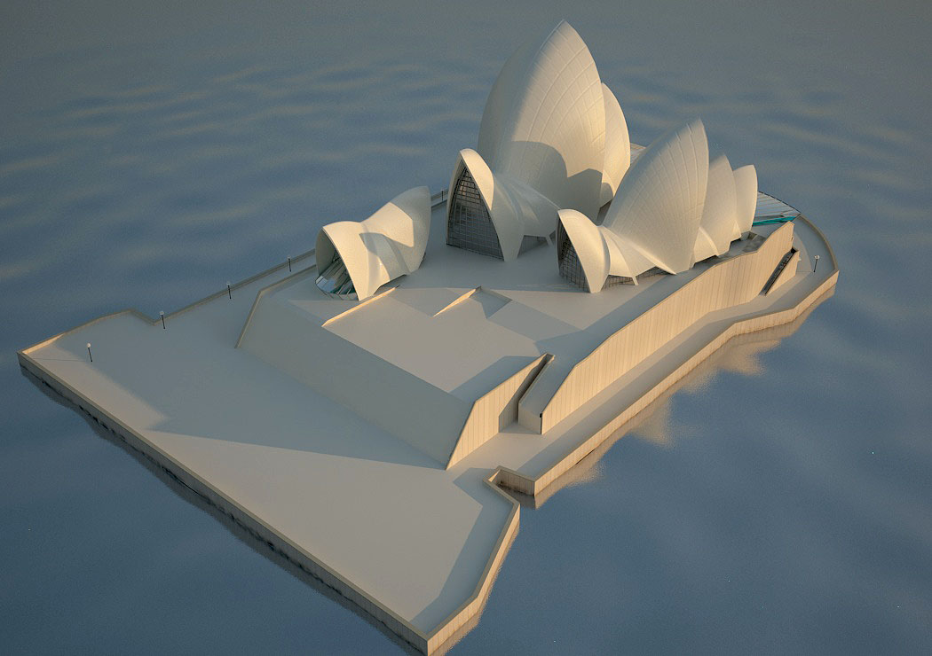 3d visualization of the project in the 3d modeling Sydney opera house 3d max, render vray 2.0 of TalaZ