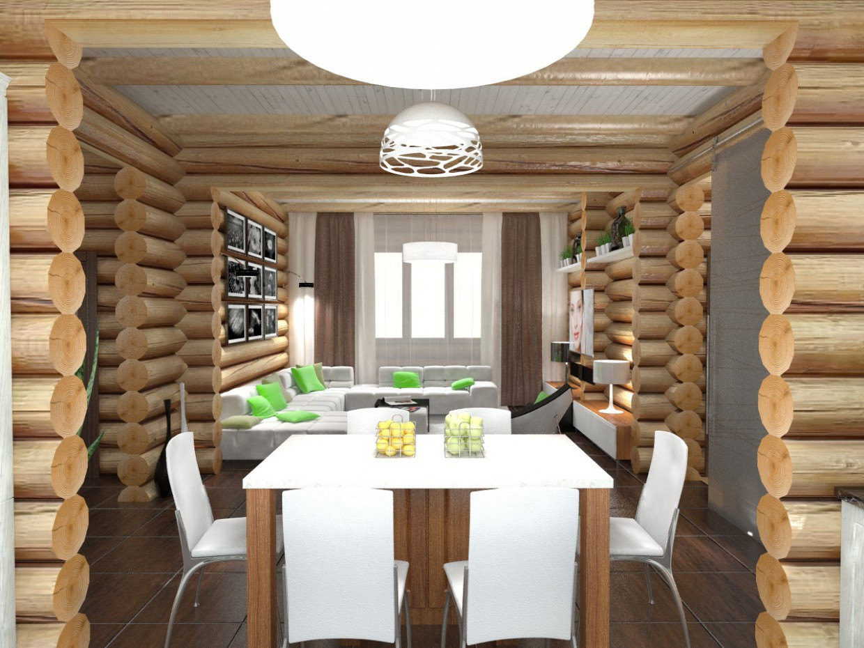 Wooden house in 3d max vray image