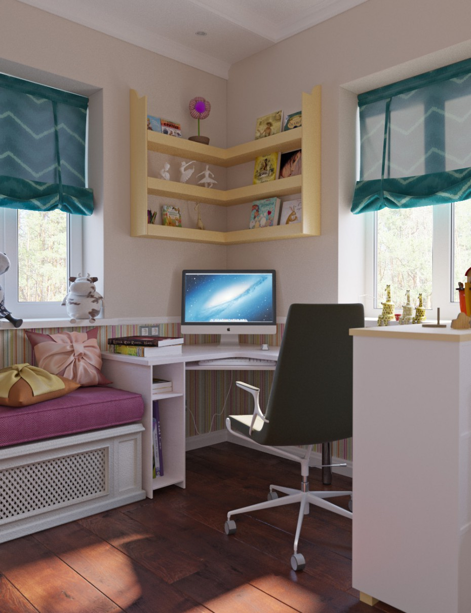 Bedroom for girl in 3d max corona render image