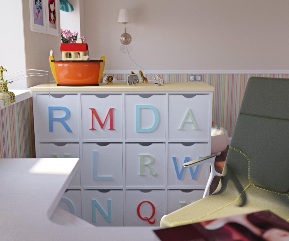 Bedroom for girl in 3d max corona render image