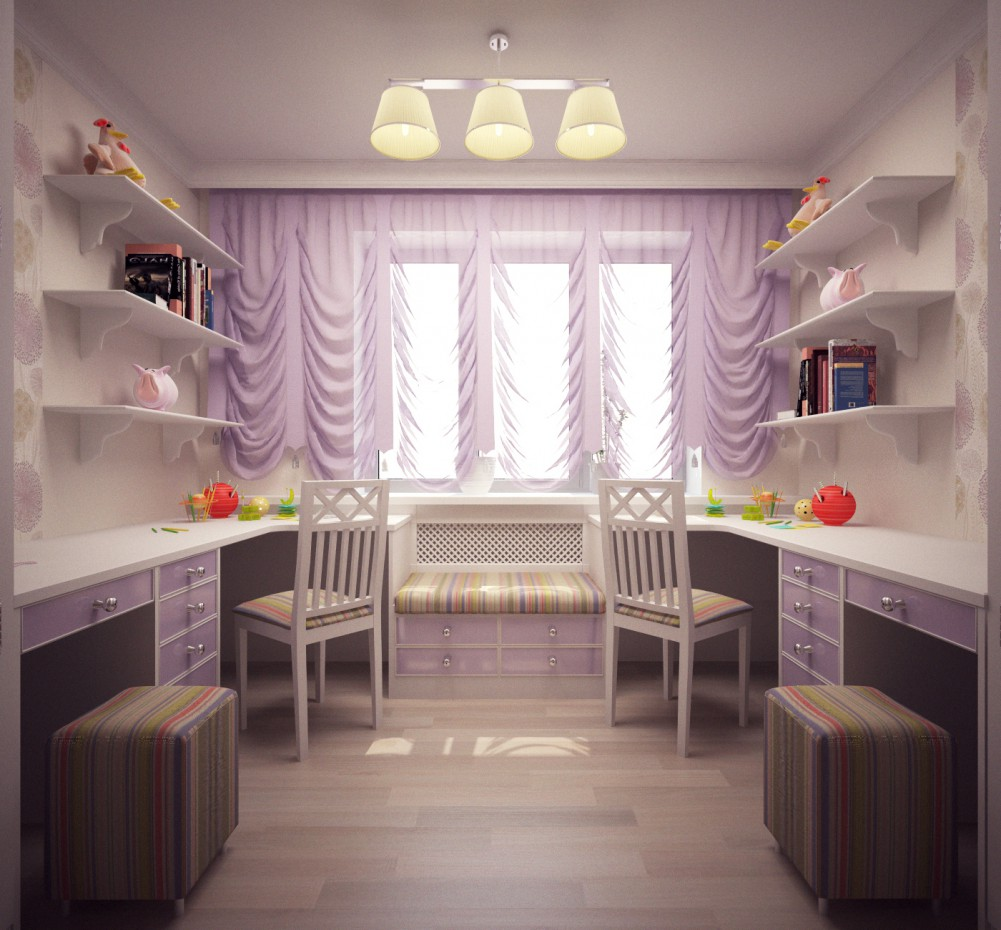 Nursery for twins in 3d max vray image