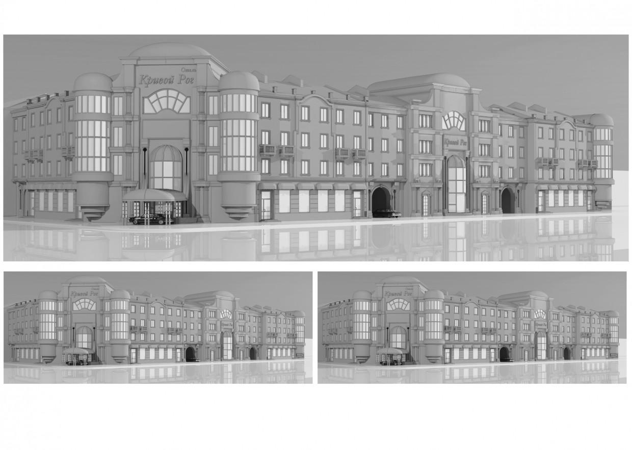 Outline of the facade in 3d max vray image