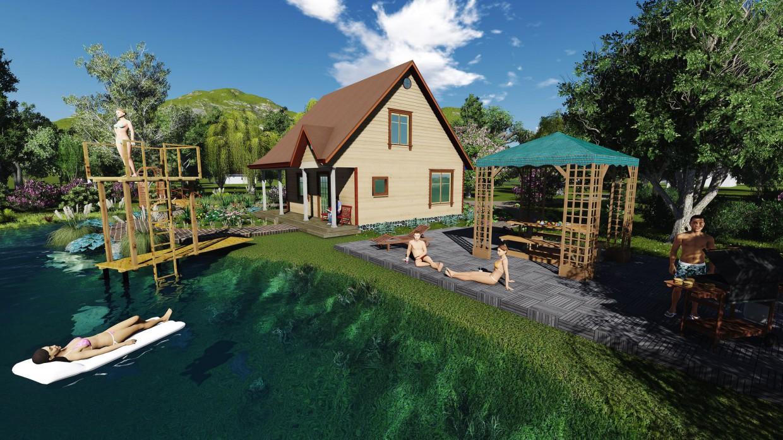 imagen de casa de vacaciones en 3d max vray 3.0