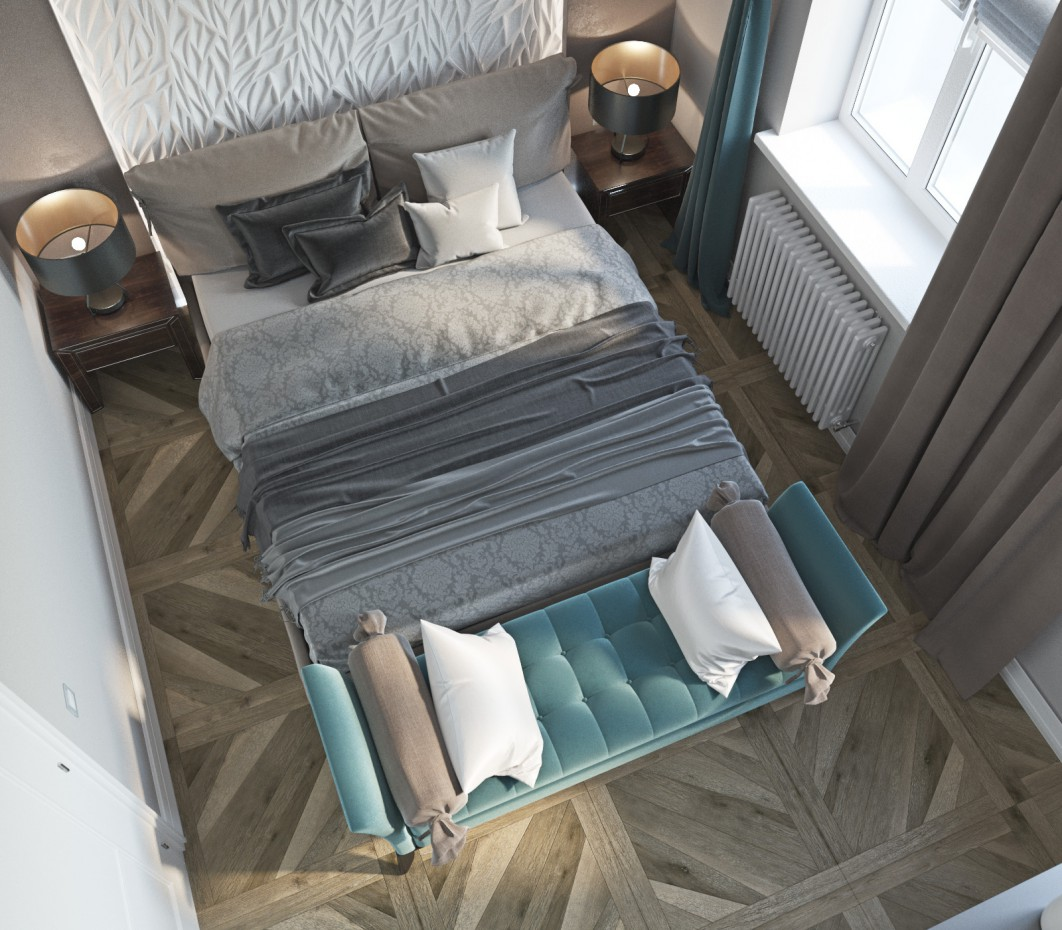 "Bedroom with elements ""art nouveau""  in  3d max   corona render  image"