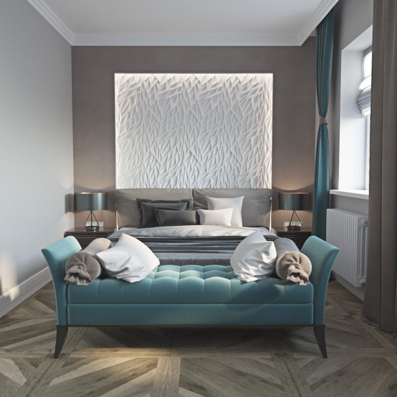 """Спальня з елементами """"Арт Модерн"""" в 3d max corona render зображення"""