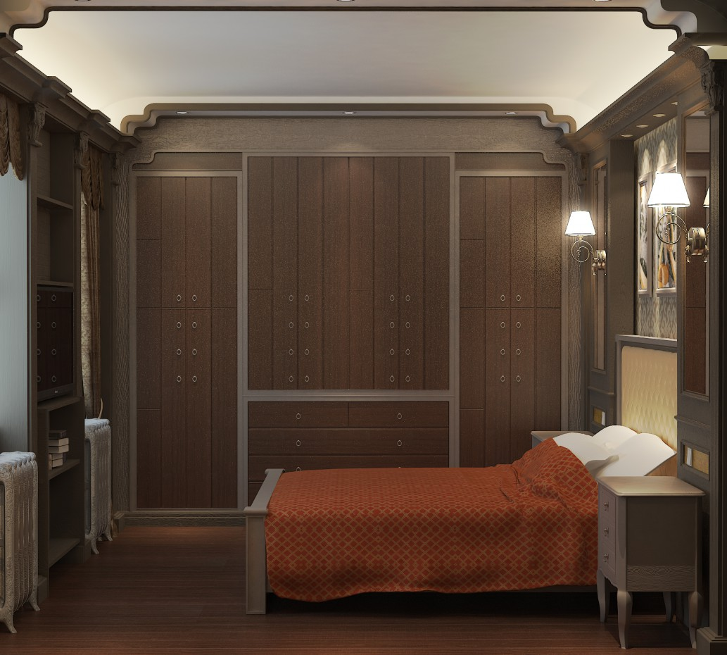 3d visualization of the project in the Bedroom in a guest house 3d max, render vray of romanius