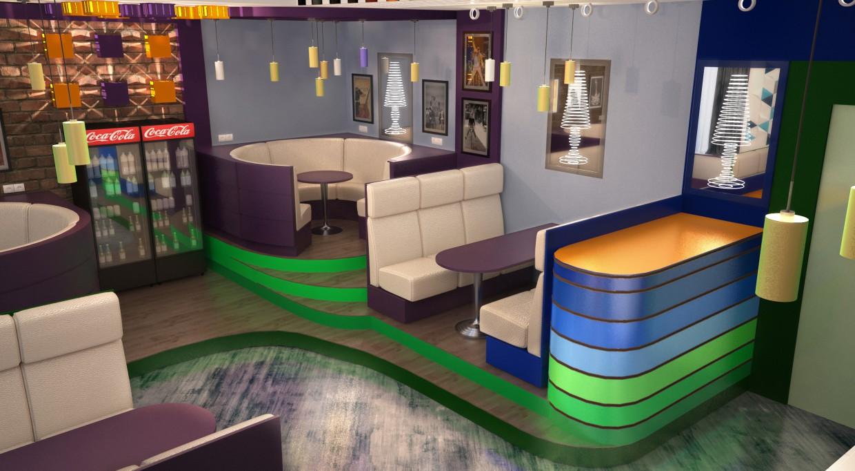 """imagen de Cafe """"La juventud"""" en 3d max vray"""