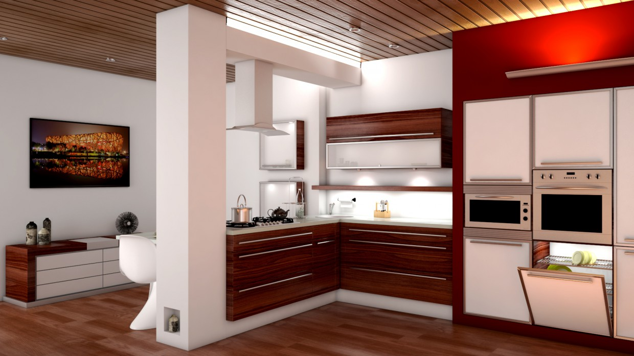3d visualization of the project in the kitchen Maya, render vray 3.0 of temporalex